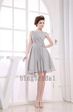 A-line Princess Straps  Knee-length Chiffon Bridesmaid/ Wedding Party Dress