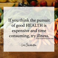 You can't afford NOT to pursue health.