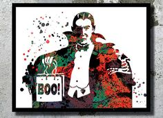 Dracula Poster Dracula Watercolor Print Halloween by BogiArtPrint
