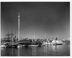Waterside view of Ports O' Call in San Pedro, circa 1970s. Materials Testing Laboratory Photograph Collection, Los Angeles Harbor Department Historical Archives.