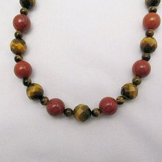 Brown Tiger Eye and Red Jasper Necklace by onerarelily on Etsy, $30.00