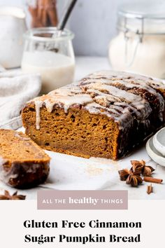 Gluten free pumpkin bread dusted with delicious cinnamon sugar. This pumpkin bread uses a whole can of pumpkin and is deliciously moist. Not only is it gluten-free, this recipe is made in one-bowl and incredibly easy to make. It will quickly become a favorite! Sugar Pumpkin, Canned Pumpkin, Healthy Dessert Recipes, Easy Desserts, Gluten Free Pumpkin Bread, Fall Recipes, Gluten Free Recipes, Sweet Tooth, Baking
