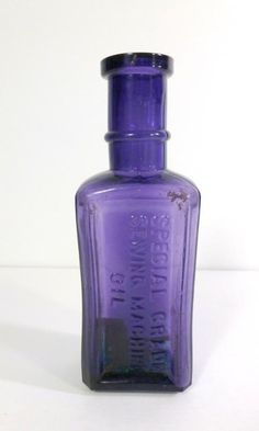 Antique Sewing Machine Oil Bottle Purple Glass Sewing Oil Bottle  found on Ruby Lane