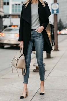 Black Wrap Coat Grey Sweater Denim Skinny Jeans Chanel Slingbacks Celine MIni Belt Bag Fashion Jackson Dallas Blogger Fashion Blogger Street Style
