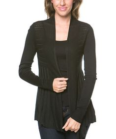 Look at this #zulilyfind! Black Pleated Open Cardigan by Khloe Collection #zulilyfinds