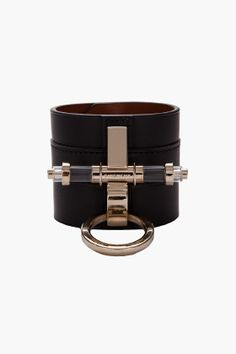 GIVENCHY // BLACK LEATHER CUFF.