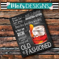 INSTANT DOWNLOAD Old FASHIONED Cocktail Bar 8x10 Sign Dirty Chalkboard Wedding Christmas Party Drink Party Man Cave Bar Cart Recipe Shower