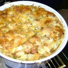 This is a great way of using up any stale bread that you have lying around in the kitchen. Crab, tuna, bread cubes and mozzarella are baked in a savoury egg custard. Crab Legs On The Grill, Tuna Bake, Grilled Crab, Souffle Recipes, Garlic Butter Sauce, Thing 1, Crab Meat, Seafood Recipes, Seafood Dishes