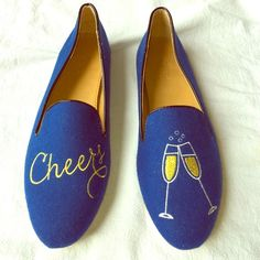 """J. Crew Blue Felt Embroidered Smoking Slippers Brand new, never worn. Flat smoking slipper with embellished champagne glass and """"cheers"""". Blue felt outter, yellow embroidery, black piping, beige leather sole. Fits true to size. J. Crew Shoes Flats & Loafers"""