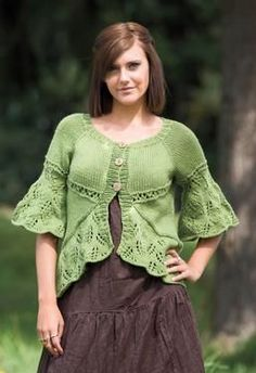 Eyelets and Lace Curved Hem Cardigan - Knitting Patterns by SweaterBabe