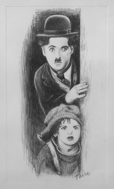 "Meine Bleistiftzeichnung von Chaplin und Coogan aus ""The Kid"". Pencil Sketch Drawing, Pencil Art Drawings, Art Drawings Sketches, Charlie Chaplin, Character Sketches, Character Drawing, Black And White Sketches, Ballet Art, Cultura Pop"