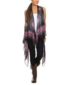 Look at this Lady's World Black & Pink Medallion Drape Open Vest - Plus Too on #zulily today!
