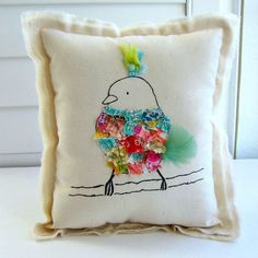 Fabric scrap hand drawn bird pillow appliqued by tracyBdesigns