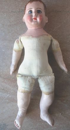 RARE Antique Alabama Baby Cloth Oil Painted Folk Art Doll Un Played w Condition | eBay