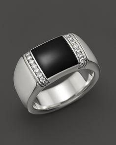 J Goodman J. Goodman Sterling Silver Diamond and Onyx Ring