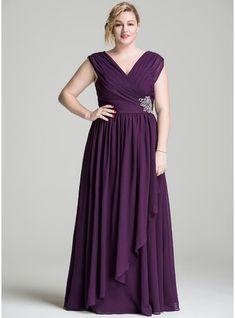 A-Line/Princess V-neck Floor-Length Chiffon Mother of the Bride Dress With Beading Sequins Cascading Ruffles