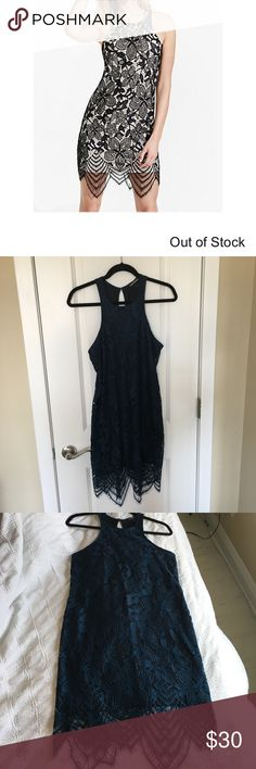 Floral lace dress Express floral navy/balance lacy dress. Never been worn.                       https://www.express.com/clothing/women/floral-lace-contrast-sheath-dress/pro/7864512/cat1910048?selectedColor=IVORY Express Dresses
