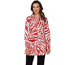 Dennis Basso Animal Print A-Line Blouse with Long Sleeves