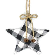 This buffalo plaid fabric star is a great accent for your Christmas wreath or tree. The traditional black and white plaid pattern is on both sides. Include this ornament in your holiday arrangements, wreaths, swags or Christmas tree. Fabric Christmas Ornaments, White Christmas Trees, Christmas Swags, Burlap Christmas, Christmas Decorations, Country Christmas, Christmas Christmas, Christmas Ideas, Holiday Decor