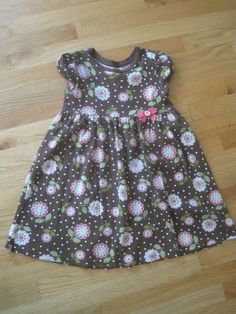 Girl GYMBOREE PINK FLOWERS BROWN COTTON Dress GUC 7 #Gymboree #Everyday