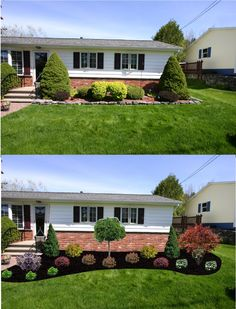 Before after; new foundation plantings – wide, curved bed; extends past the corner of the house