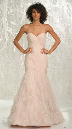 watters brides spring 2016 bridal strapless sweetheart neckline ruched bodice pink mermaid wedding dress style starla