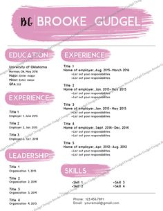 Blush Resume, Contact: Brookegudgel@gmail.com #sorority #rush #recruitment