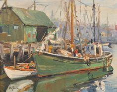 """""""Italian Fishing Boat Gloucester,"""" Otis Pierce Cook, oil on canvasboard, 16 x 20"""", private collection."""