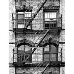 Fire Escape, Stairway on Manhattan Building, New York, United States, Black and White Photography Photographic Wall Art Print