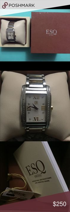 ESQ Diamond Watch *Perfect Condition* *Any Offers* ESQ KINGSTON DIAMOND LADIES TWO TONE WATCH 07101258ESQ  - Polished Two Tone Stainless Steel Case and Bracelet - White Mother Of Pearl Dial (23x17mm) - Silver Tone Hour and Minute Hands - Gold Tone Roman Numeral Cardinal Hour Markers - 8 Genuine Diamond Hour Markers - 40 Genuine Diamond Set On Both Sides Of Bezel - Sapphire Crystal - Swiss - Water Resistant to 30 Meters - Hidden Fold Over Dual Push Button Deployment Clasp - Series: Kingston…