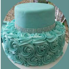 Tiffany Blue Rosette Cake~~idea only ✔
