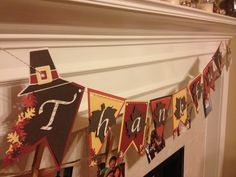 """Thanksgiving banner, """"Thankful"""", can be cut with my layered pennant dies. Thanksgiving Banner, Fall Banner, Holiday Banner, Thanksgiving Crafts For Kids, Thanksgiving Decorations, Fall Crafts, Holiday Crafts, Halloween Bunting, Fall Halloween"""
