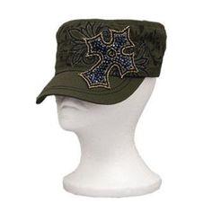 KBETHOS Olive Rhinestone Cross Cadet Hat : Trendy Hats