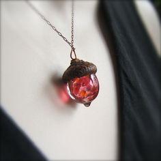 Glass Acorn Necklace - Raspberry Peach by Bullseyebeads - (93). $22.00, via Etsy.