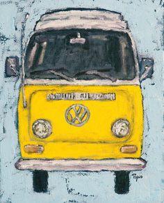 Yellow VW Bus  print art folk art digital print home door rynoprints
