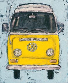 Yellow VW Bus - Prints, Art, Scenic, Folk, Digital Prints, Decor, Wall Art, Handmade, Wall Decor