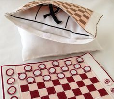 Homemade Embroidered Game Draughts  10x 8  by LMDSimplyBe on Etsy,