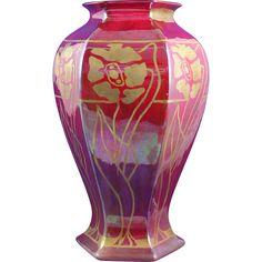 Bernardaud & Co. (B&Co.) Limoges Art Deco Red & Gold Lustre Floral Motif Vase (Signed/c.1900-1914)