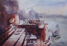 $149 USD. Original handmade watercolor of Ghats of Varanasi by Yashwant Maurya