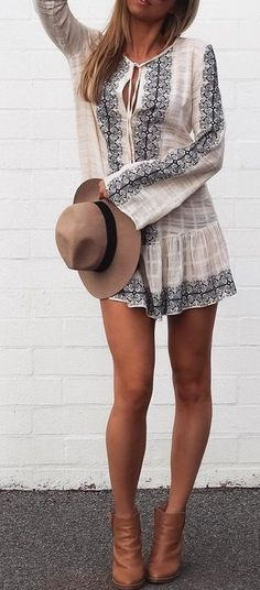 Boho Dress + Ankle Boots                                                                             Source