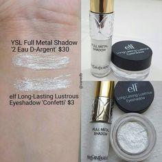 YSL Full Metal Shadow 2 Eau D'Argent = elf Long Lasting Luminous Eyeshadow in Confetti