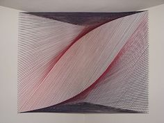 """Amie Adelman """"Fluctuation II"""" installation made with thread, 36""""x36""""x36"""""""