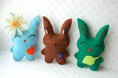 Set of 3 Cute Easter basket  Bunnies children spring by Mielamiela, $16.00