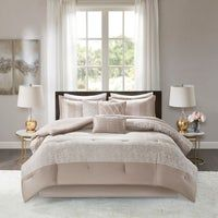 Madison Park Elicia Taupe 7 Piece Queen Size Chenille Jacquard Comforter Set (As Is Item) (Queen), Brown Luxury Comforter Sets, Ruffle Bedding, Queen Comforter Sets, Bedding Sets, Champagne, Ruffle Bed Skirts, Bath, California King