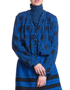 Plenty By Tracy Reese Printed Long Sleeve Shirt Tunic Women's Blue Med
