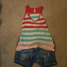 Tank top Cute top with slit up the back cute fun bright summer colors. Only worn once. color story Tops Tank Tops