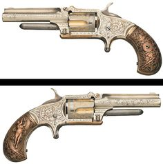 "Exhibition Quality Factory Engraved Marlin Model 32 Standard 1875 Revolver with Desirable DeGress ""Tiffany"" Style Grips."