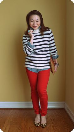 Stripes, chambray, red leopard