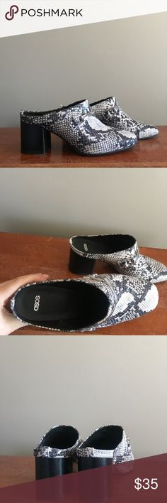 ASOS Snake Print Mules Adorable snake print mules in GREAT condition. Comes in original box. Asos Shoes Mules & Clogs