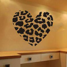 Leopard Print Heart Vinyl Wall Decal Kids Child Bedroom Removable Sticker Decor #Budgettank #Modern